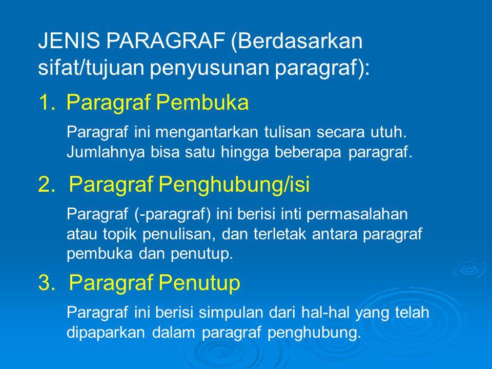 JENIS PARAGRAF (Berdasarkan sifat/tujuan penyusunan paragraf):