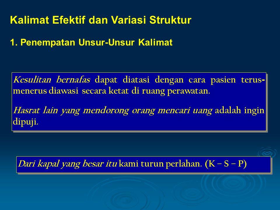 Kalimat Efektif dan Variasi Struktur
