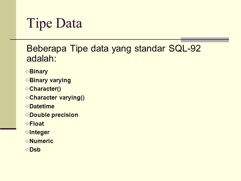 Tipe Data Beberapa Tipe data yang standar SQL-92 adalah: Binary