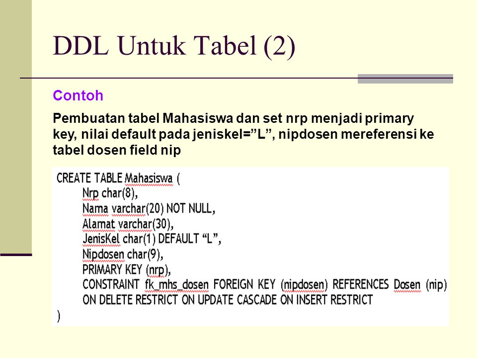 DDL Untuk Tabel (2) Contoh