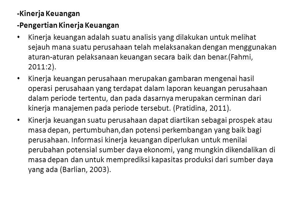 -Kinerja Keuangan -Pengertian Kinerja Keuangan.