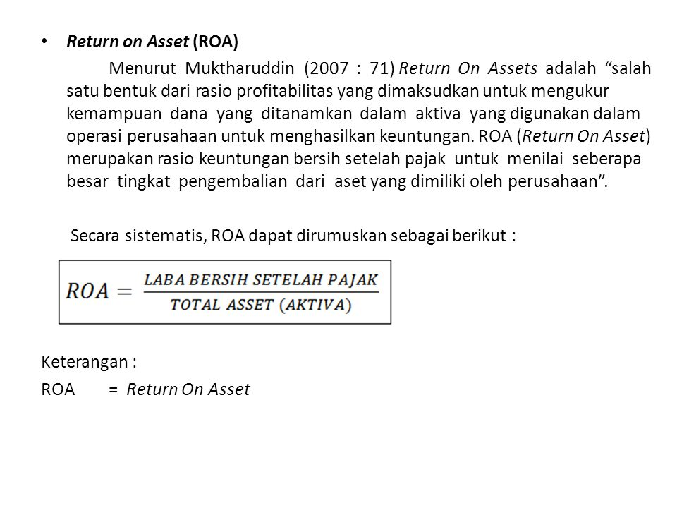 Return on Asset (ROA)