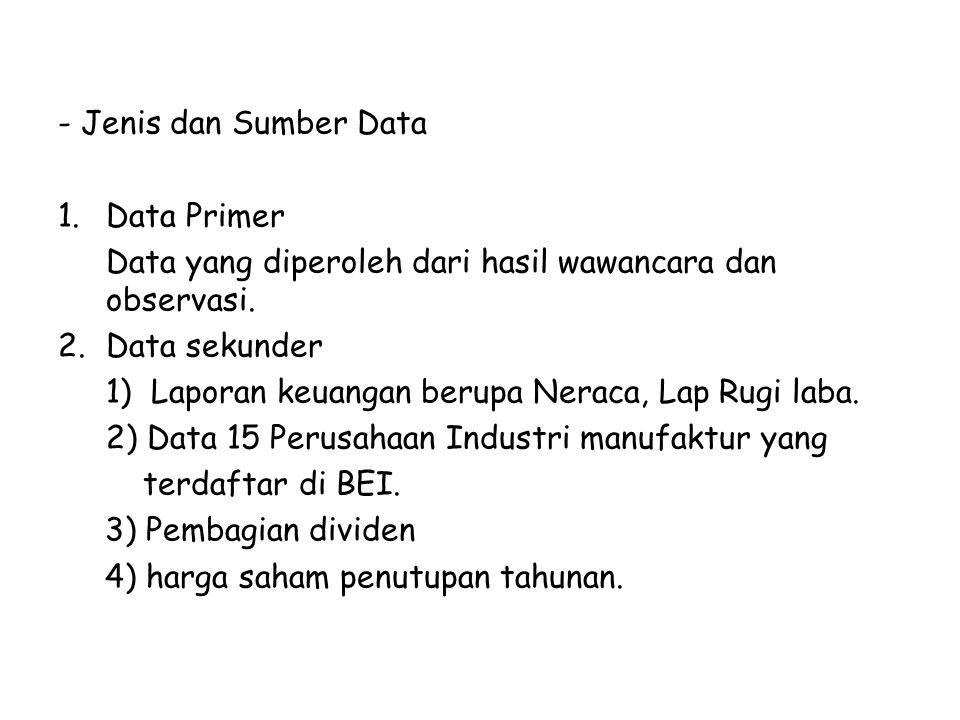 - Jenis dan Sumber Data Data Primer. Data yang diperoleh dari hasil wawancara dan observasi. Data sekunder.