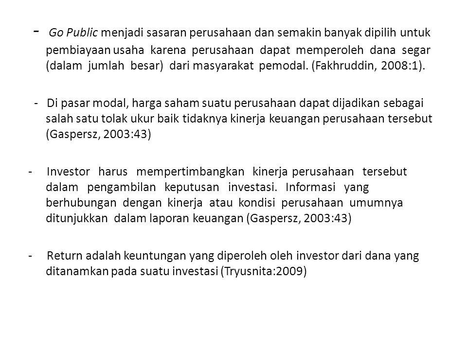 - Go Public menjadi sasaran perusahaan dan semakin banyak dipilih untuk pembiayaan usaha karena perusahaan dapat memperoleh dana segar (dalam jumlah besar) dari masyarakat pemodal. (Fakhruddin, 2008:1).