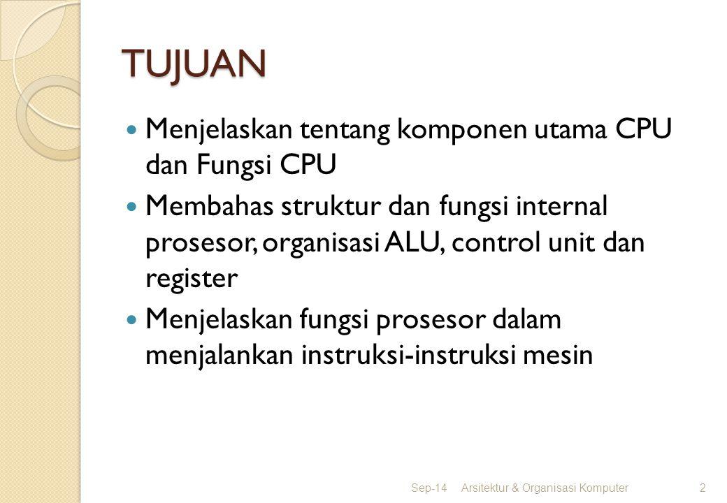 TUJUAN Menjelaskan tentang komponen utama CPU dan Fungsi CPU