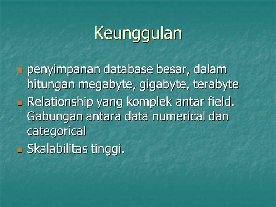 Keunggulan penyimpanan database besar, dalam hitungan megabyte, gigabyte, terabyte.