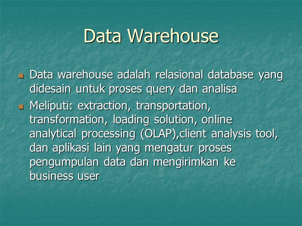 Data Warehouse Data warehouse adalah relasional database yang didesain untuk proses query dan analisa.
