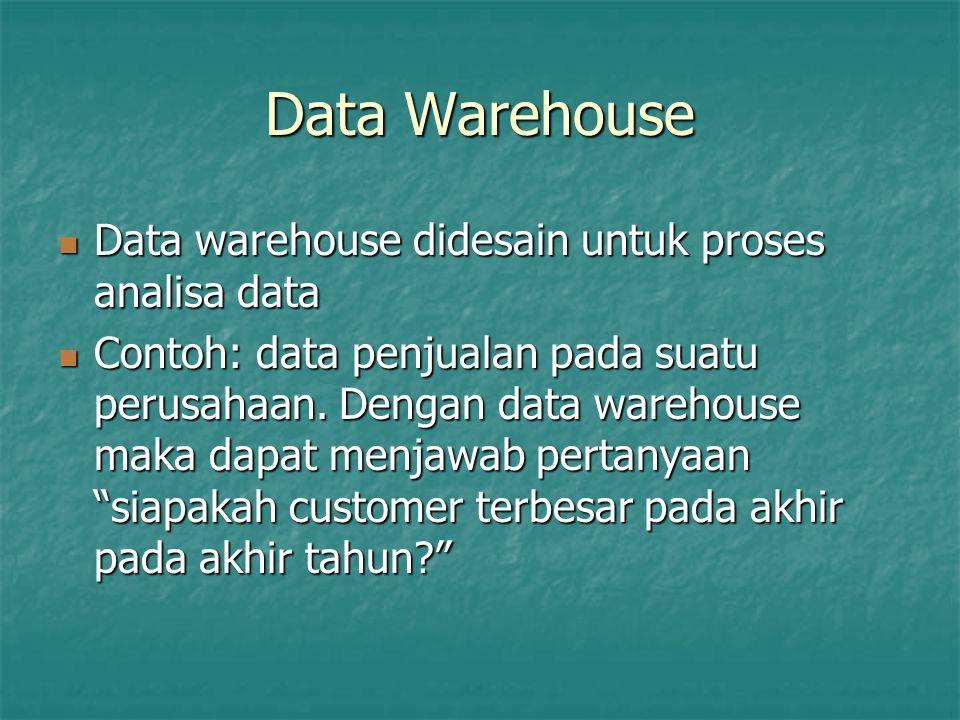 Data Warehouse Data warehouse didesain untuk proses analisa data