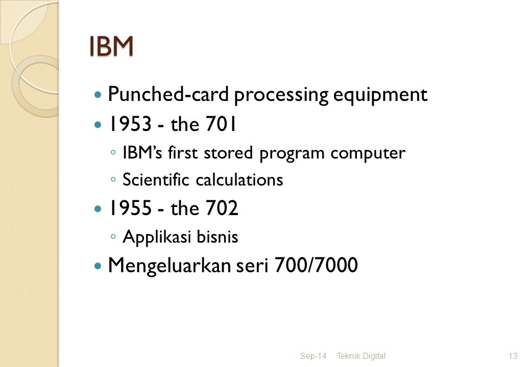 IBM Punched-card processing equipment 1953 - the 701 1955 - the 702