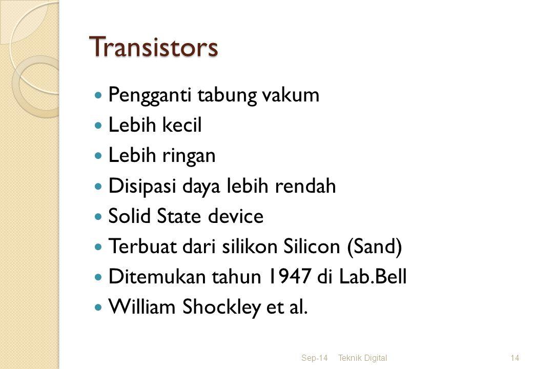 Transistors Pengganti tabung vakum Lebih kecil Lebih ringan