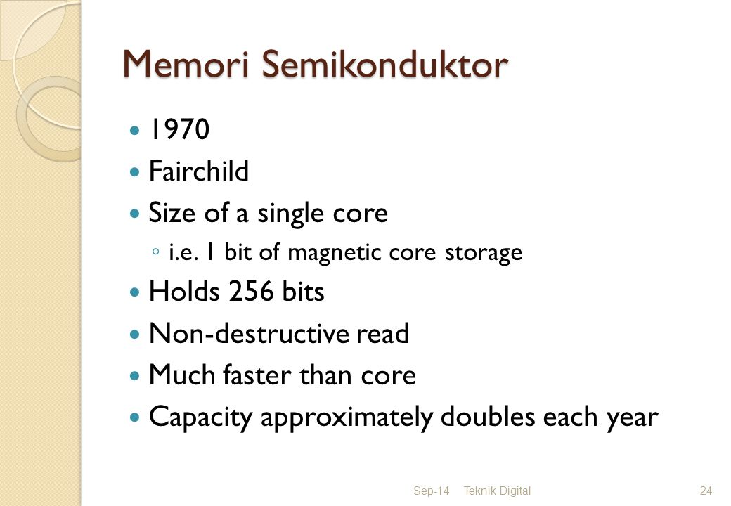 Memori Semikonduktor 1970 Fairchild Size of a single core