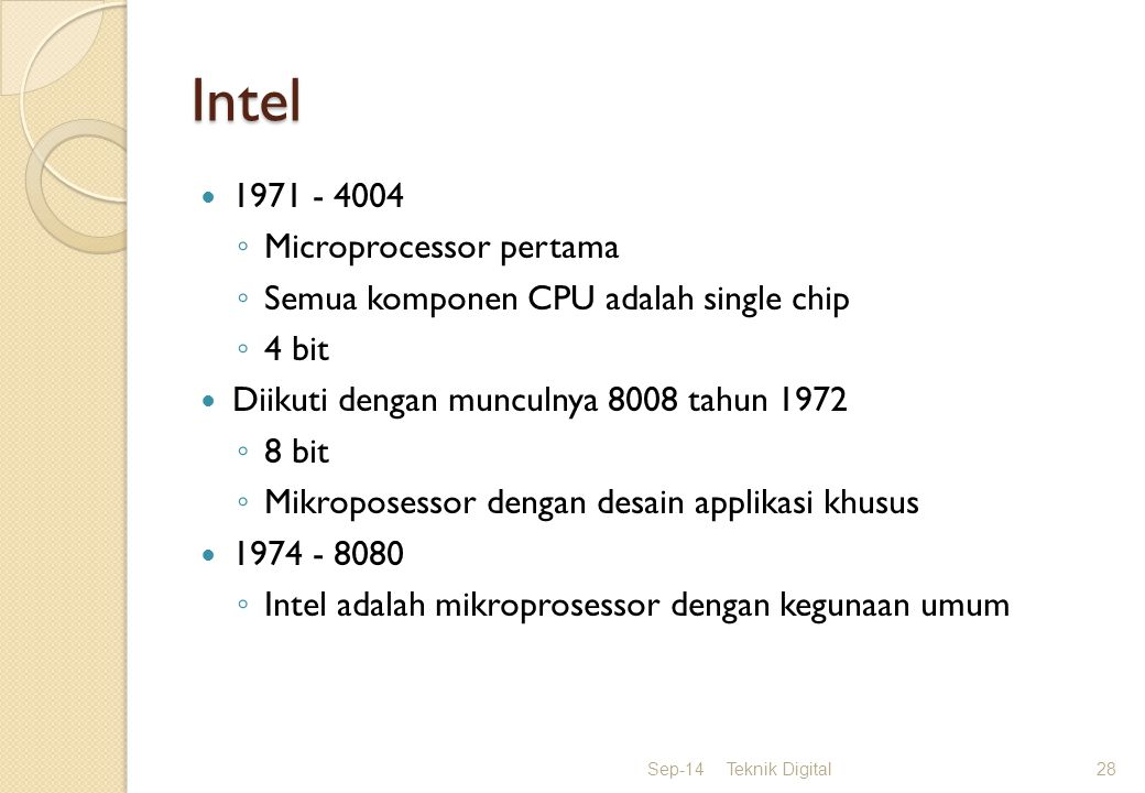 Intel 1971 - 4004 Microprocessor pertama