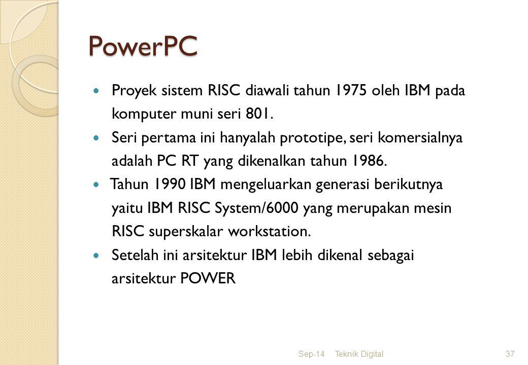 PowerPC Proyek sistem RISC diawali tahun 1975 oleh IBM pada