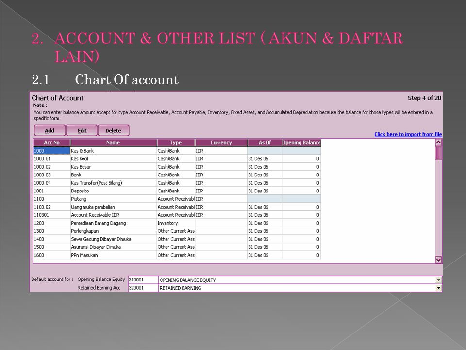 ACCOUNT & OTHER LIST ( AKUN & DAFTAR LAIN)
