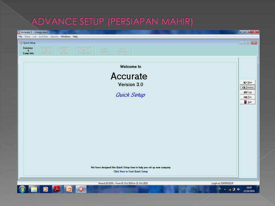 ADVANCE SETUP (PERSIAPAN MAHIR)