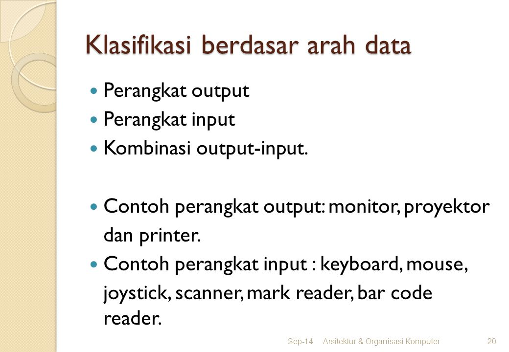 Klasifikasi berdasar arah data