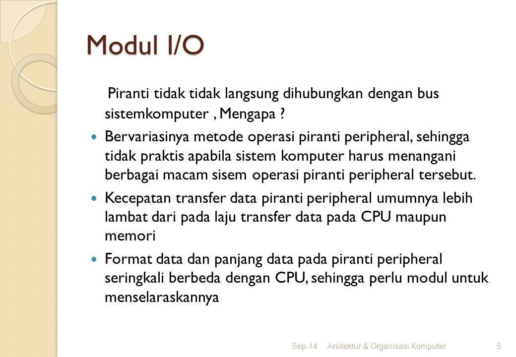 Modul I/O Piranti tidak tidak langsung dihubungkan dengan bus sistemkomputer , Mengapa