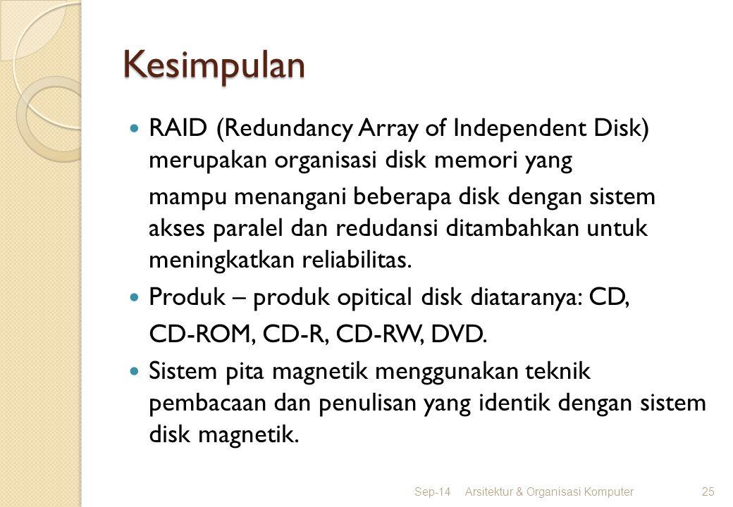 Kesimpulan RAID (Redundancy Array of Independent Disk) merupakan organisasi disk memori yang.