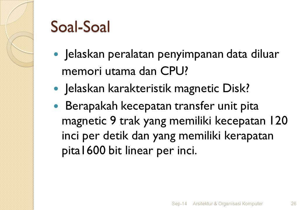 Soal-Soal Jelaskan peralatan penyimpanan data diluar