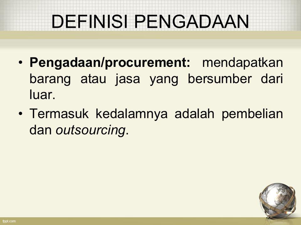 DEFINISI PENGADAAN Pengadaan/procurement: mendapatkan barang atau jasa yang bersumber dari luar.