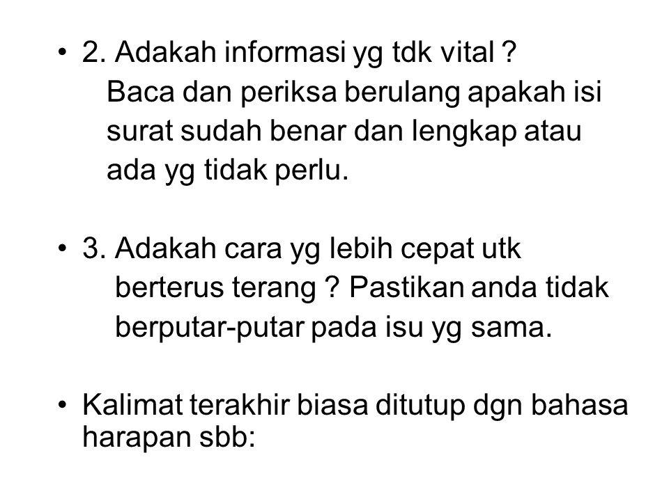 2. Adakah informasi yg tdk vital