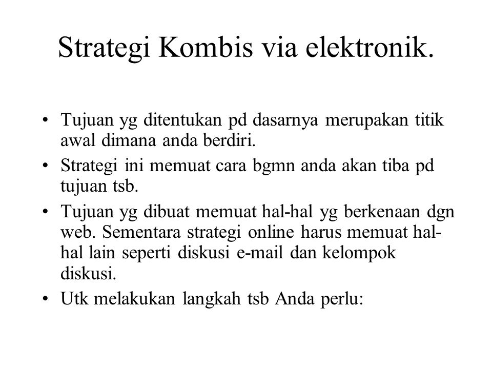 Strategi Kombis via elektronik.