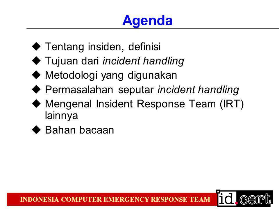 Agenda Tentang insiden, definisi Tujuan dari incident handling