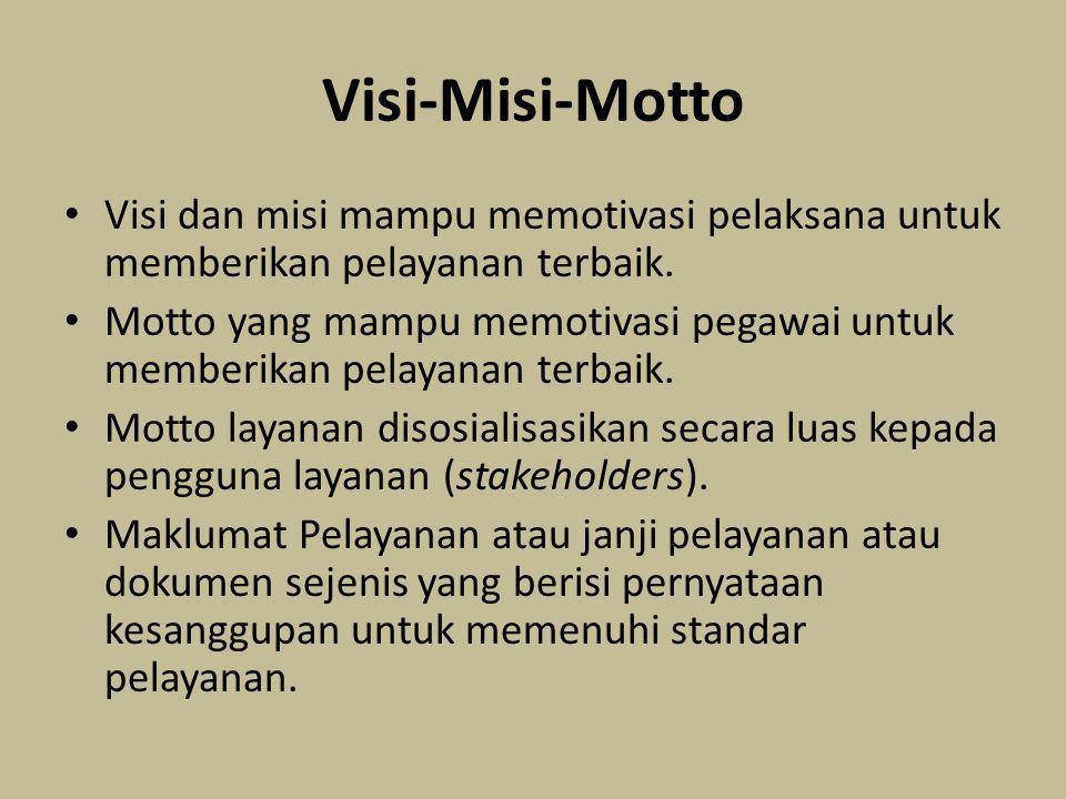 Visi-Misi-Motto Visi dan misi mampu memotivasi pelaksana untuk memberikan pelayanan terbaik.