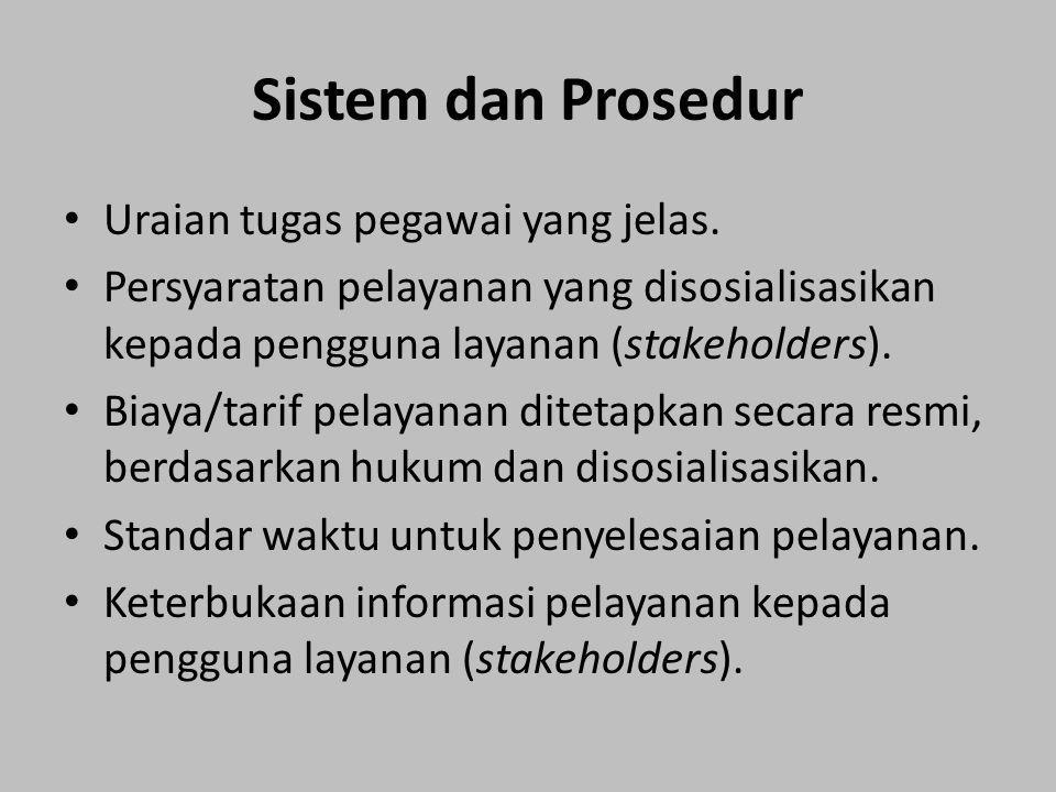 Sistem dan Prosedur Uraian tugas pegawai yang jelas.