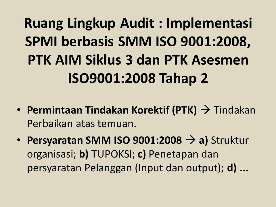 Ruang Lingkup Audit : Implementasi SPMI berbasis SMM ISO 9001:2008, PTK AIM Siklus 3 dan PTK Asesmen ISO9001:2008 Tahap 2