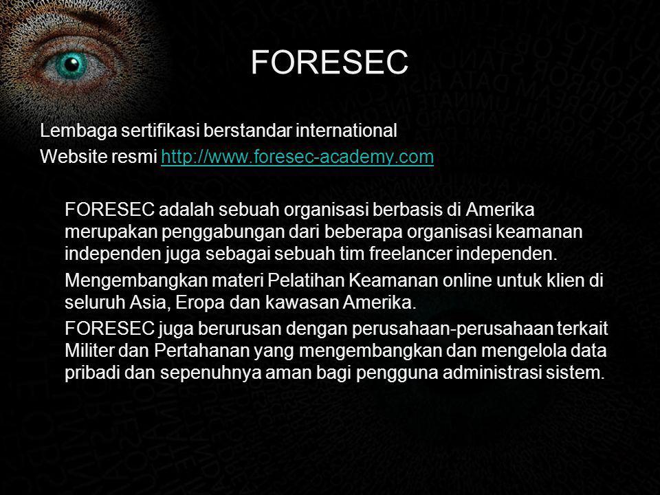 FORESEC Lembaga sertifikasi berstandar international