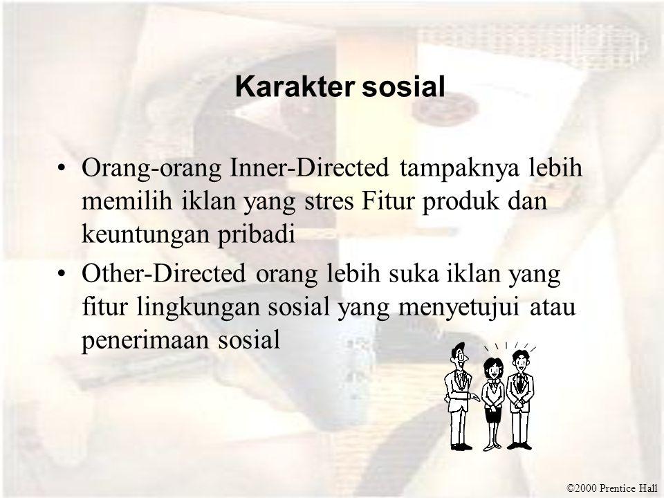 Karakter sosial Orang-orang Inner-Directed tampaknya lebih memilih iklan yang stres Fitur produk dan keuntungan pribadi.
