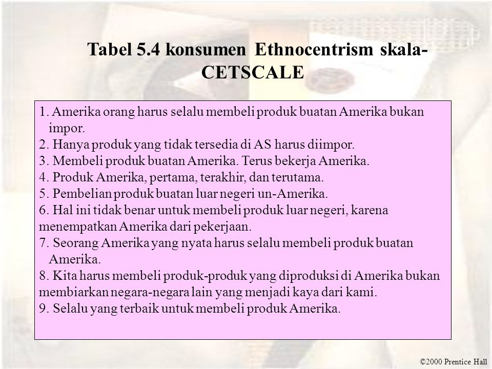 Tabel 5.4 konsumen Ethnocentrism skala-CETSCALE