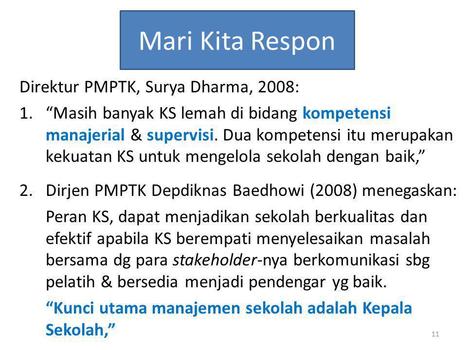 Mari Kita Respon Direktur PMPTK, Surya Dharma, 2008: