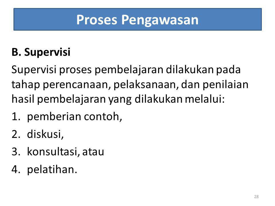 Proses Pengawasan B. Supervisi