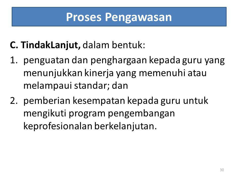 Proses Pengawasan C. TindakLanjut, dalam bentuk: