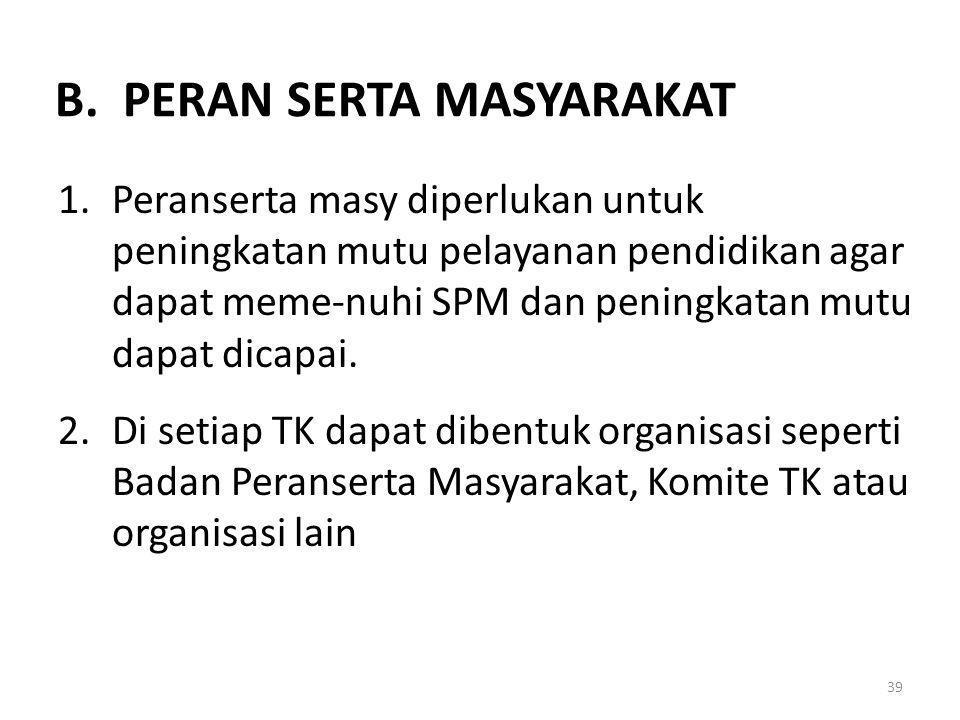 B. PERAN SERTA MASYARAKAT
