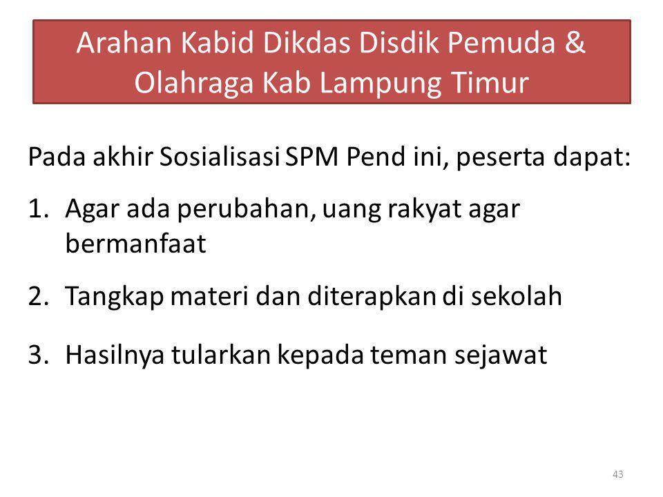 Arahan Kabid Dikdas Disdik Pemuda & Olahraga Kab Lampung Timur