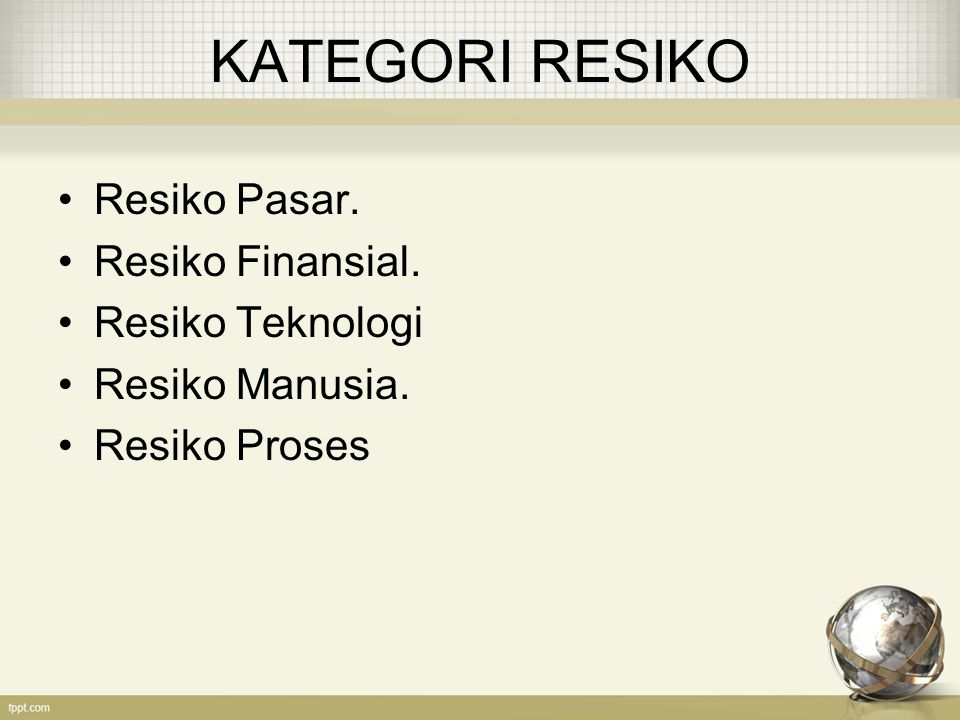KATEGORI RESIKO Resiko Pasar. Resiko Finansial. Resiko Teknologi