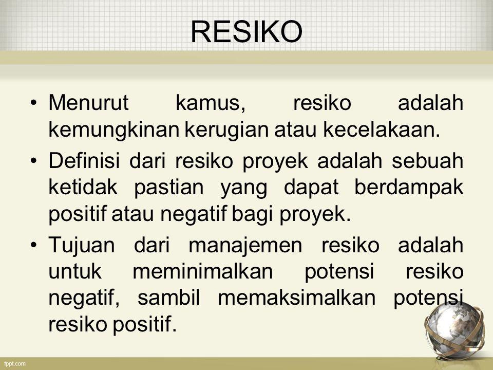 RESIKO Menurut kamus, resiko adalah kemungkinan kerugian atau kecelakaan.