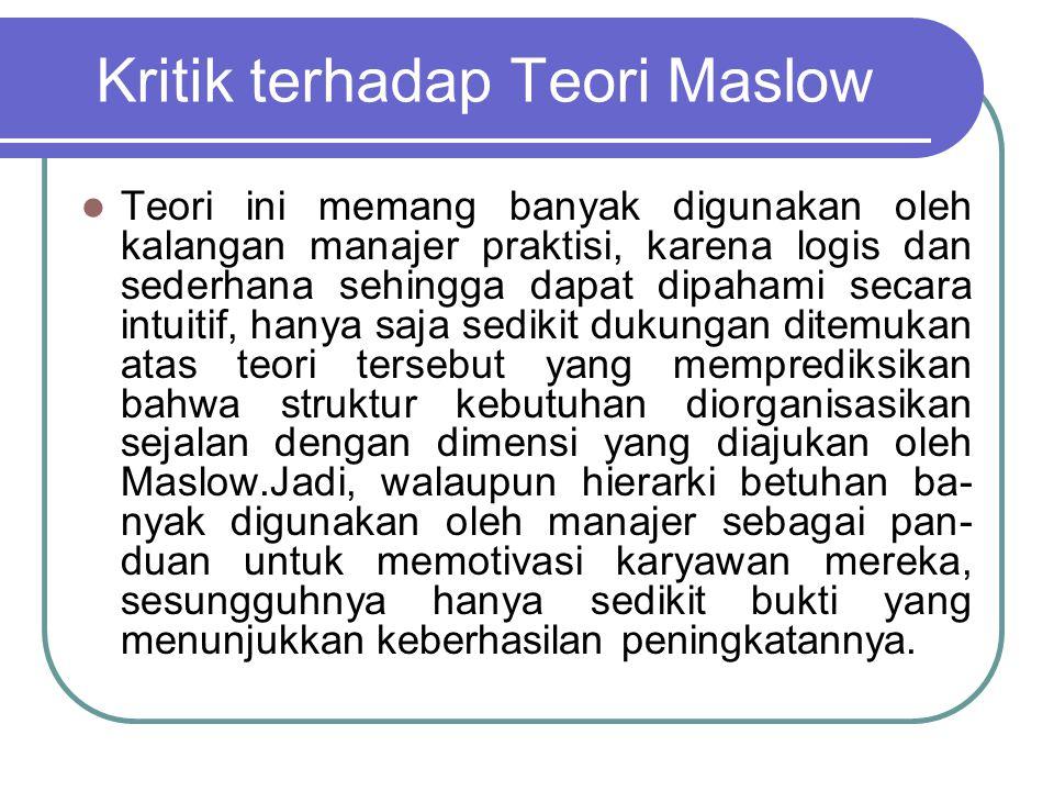 Kritik terhadap Teori Maslow
