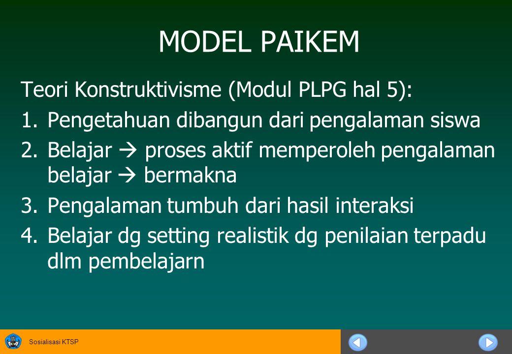 MODEL PAIKEM Teori Konstruktivisme (Modul PLPG hal 5):