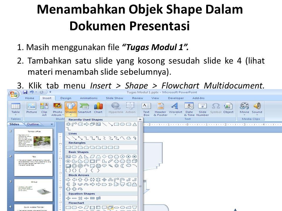 Menambahkan Objek Shape Dalam Dokumen Presentasi