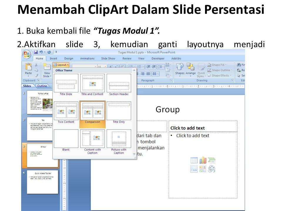 Menambah ClipArt Dalam Slide Persentasi
