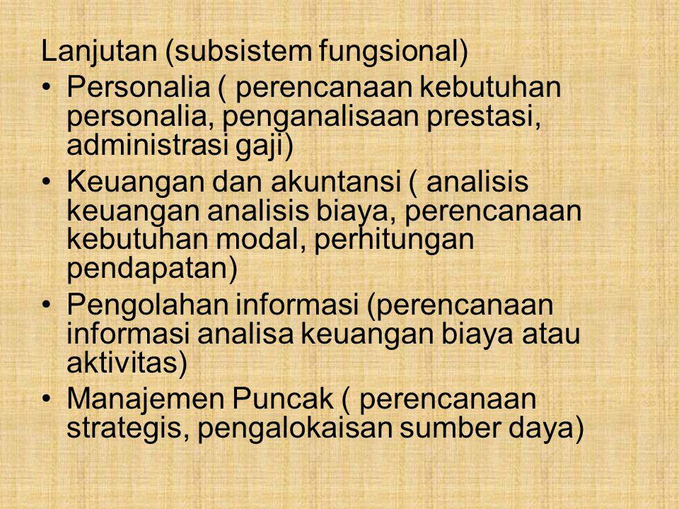 Lanjutan (subsistem fungsional)
