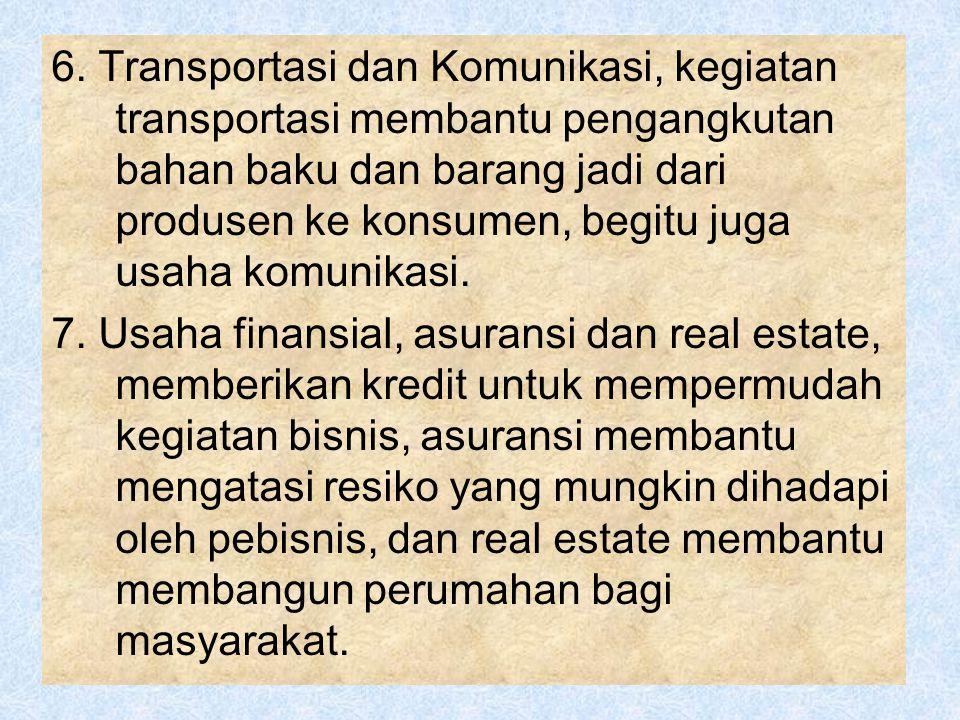 6. Transportasi dan Komunikasi, kegiatan transportasi membantu pengangkutan bahan baku dan barang jadi dari produsen ke konsumen, begitu juga usaha komunikasi.