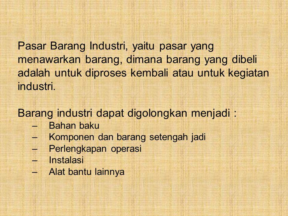 Pasar Barang Industri, yaitu pasar yang