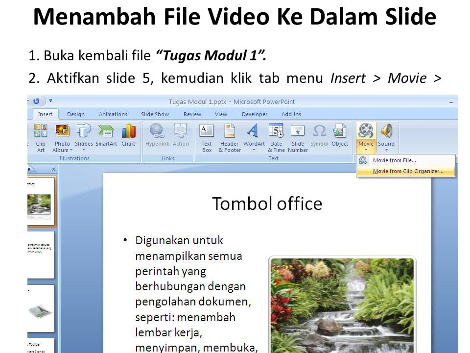Menambah File Video Ke Dalam Slide