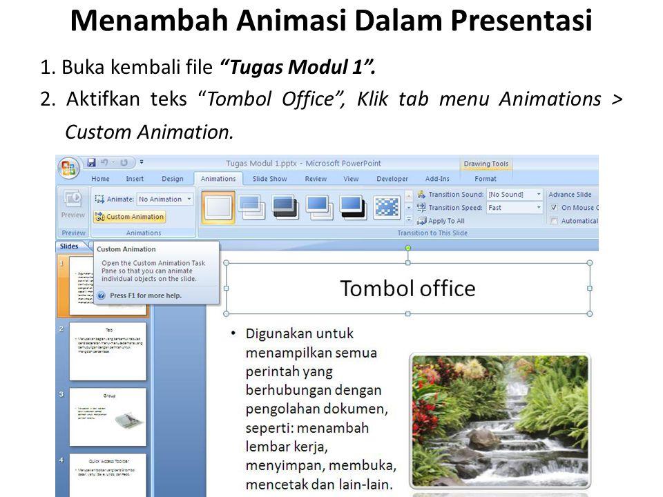 Menambah Animasi Dalam Presentasi