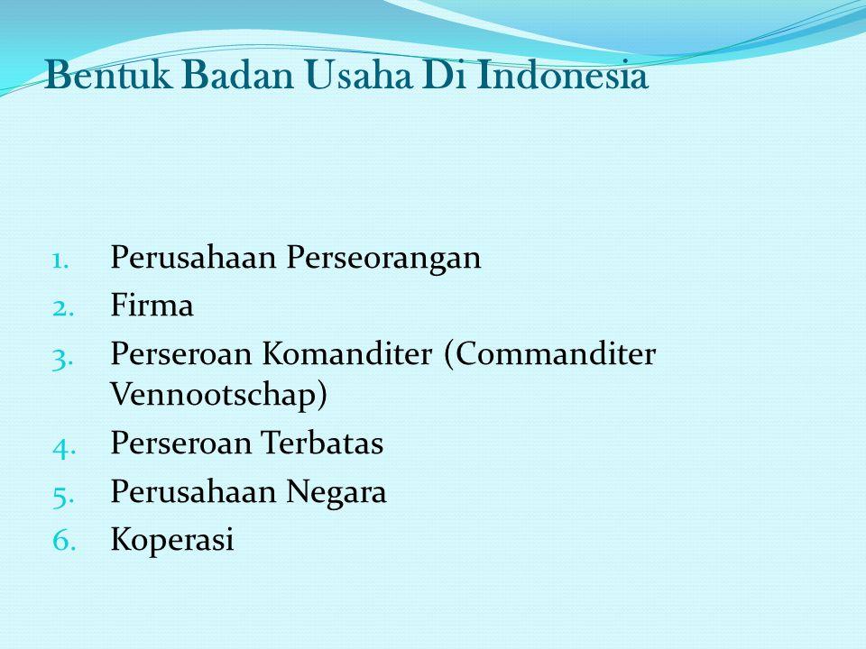 Bentuk Badan Usaha Di Indonesia